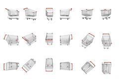 empty supermarket carts - stock illustration
