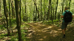 A man with a backpack walk downhill the forest trail . Stock Footage