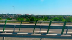 Nuclear Power Plant of Cernavoda Romania Seen From A2 Motorway Vehicle Shot Stock Footage