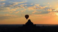 Morning of Bagan, Hot air balloon over Bagan, Mandalay, Myanmar Stock Footage
