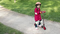 Little Girl Ready Kick Push Scooter Riding Stock Footage