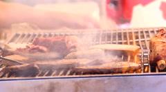 Bbq street food market meat on grill Stock Footage
