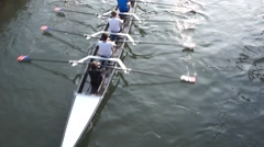 Rowers on Naviglio Grande in Milan, Italy. Stock Footage