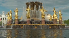 Slow motion sunny weather video of Soviet Union symbolic fountain in Moscow - stock footage