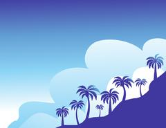 Summer color background with palm trees - stock illustration