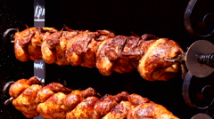 Rotisserie Chicken grill rotating Stock Footage