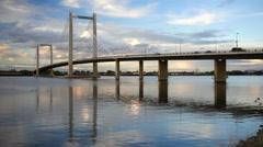 Benton Franklin Intercounty Bridge Columbia River Kennewick Washington - stock footage