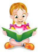 Cartoon Girl Reading Amazing Book Stock Illustration