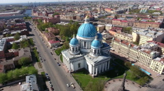 Trinity Cathedral and the Column of Glory on Troitskaya Ploshchad, aerial view - stock footage