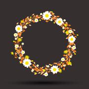 round floral daisy pattern - stock illustration