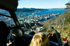 Floibanen funicular railway with view of Bergen from Mount Floyen, Bergen, Stock Photos