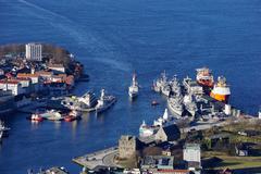 View of Bergen from Mount Floyen, Bergen, Hordaland, Norway, Scandinavia, Europe Stock Photos
