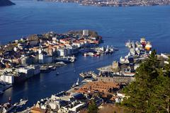 View of Bergen from Mount Floyen, Bergen, Hordaland, Norway, Scandinavia, Europe - stock photo