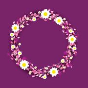 round floral daisy pattern - stock illustration