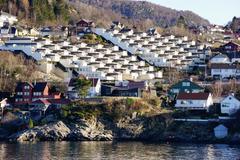 Fjord side housing development near Bergen, Hordaland, Norway, Scandinavia, - stock photo