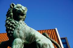Lion Statue, Bergen, Hordaland, Norway, Scandinavia, Europe Stock Photos