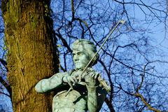 Ole Bulls Statue Man Playing Violin, Bergen, Norway, Scandinavia, Europe - stock photo