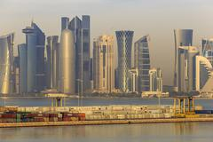 Futuristic Doha city skyline and container port, Doha, Qatar, Middle East Kuvituskuvat