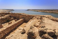 Sumhuram ruins overlooking Khor Rori (Rouri), Land of Frankincense UNESCO World Stock Photos