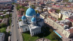 Beautiful Trinity Orthodox Cathedral on Troitsky avenue in center, St. Petesburg Stock Footage