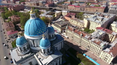 Building of the Trinity Orthodox Cathedral, St. Petersburg, Russia Stock Footage