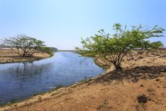 Tranquil waters of Khor Rori (Rouri), Land of Frankincense UNESCO World Heritage Stock Photos