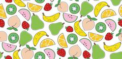 Vector seamless pattern with popart fruits - stock illustration