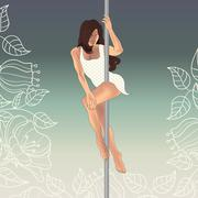 Beautiful pole art dancer girl on pole - stock illustration