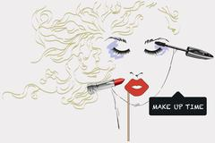 Features woman face with make up artist objects - stock illustration