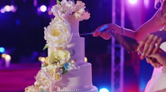 Couple cut the wedding cake, the frame only hands visible Stock Footage