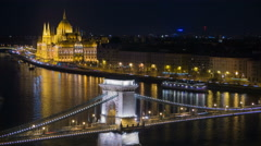 Budapest at night, Chain Bridge Stock Footage