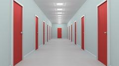 Hallway with red doors. Stock Footage
