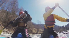 White water rafting under the sun shining Stock Footage