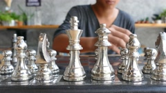 Set the chess on a chessboard Stock Footage