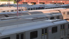 Toronto transit commission TTC subway trains in Davisville yard Stock Footage