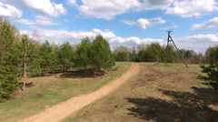 Countryside gravel pathway in the summer forest, aerial shot Stock Footage