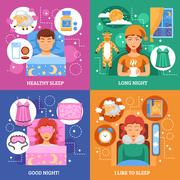 Healthy Sleep Concept Flat Icons Square Stock Illustration