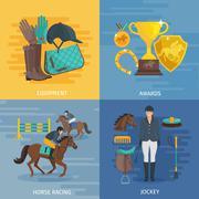 Jockey Flat Design - stock illustration