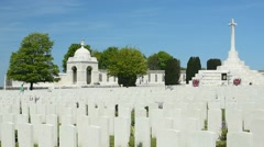 WWI tombstones at Tyne Cot Cemetery, West Flanders, Belgium Stock Footage