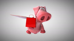Flying pig - computer animation Stock Footage