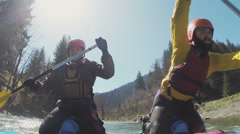 Rafting as extreme and strict sport for real men Stock Footage