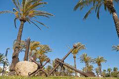 Anchors monument in Salou, Spain - stock photo