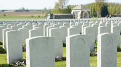 WWI graves of Canadian soldiers at the Tyne Cot Cemetery, Belgium Stock Footage