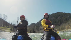 The way f the sportmen to the finish line on the rough water - stock footage