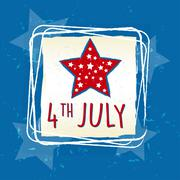 4th of July with star in square frame - USA American Independence Day Stock Illustration