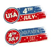 USA Independence Day and 4th of July with stars in drawing banners - stock illustration