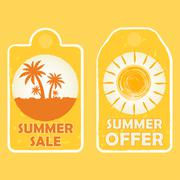 summer sale and offer with palms and sun signs, yellow drawn labels - stock illustration