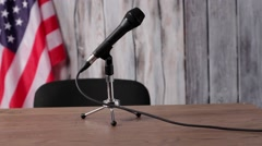 USA flag, man and microphone. Stock Footage