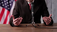 Man speaks into microphone. Stock Footage