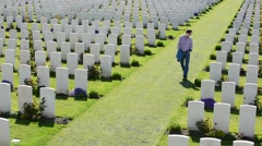 Graves of WWI soldiers at the Tyne Cot Cemetery, Flanders, Belgium Stock Footage